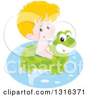 Cartoon Blond Caucasian Boy Swimming With A Frog Inner Tube