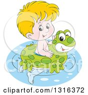 Clipart Of A Cartoon Blond White Boy Swimming With A Frog Inner Tube Royalty Free Vector Illustration
