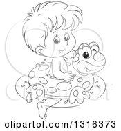 Outline Clipart Of A Cartoon Black And White Boy Swimming With A Frog Inner Tube Royalty Free Lineart Vector Illustration by Alex Bannykh