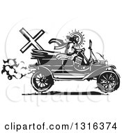 Clipart Of A Black And White Woodcut Jesus Christ Driving An Antique Model T Car Royalty Free Vector Illustration