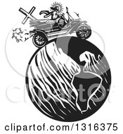 Clipart Of A Black And White Woodcut Jesus Christ Driving An Antique Model T Car Around Earth Royalty Free Vector Illustration by xunantunich