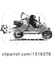 Clipart Of A Black And White Woodcut Grim Reaper Driving An Antique Model T Car Royalty Free Vector Illustration