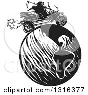 Clipart Of A Black And White Woodcut Grim Reaper Driving An Antique Model T Car Around The Globe Royalty Free Vector Illustration by xunantunich