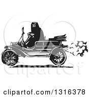 Clipart Of A Black And White Woodcut Muslim Woman Driving An Antique Model T Car Royalty Free Vector Illustration