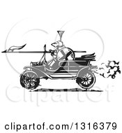 Black And White Woodcut Jousting Knight Holding A Lance And Driving An Antique Model T Car