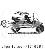 Black And White Woodcut Woman Wearing A Scarf And Driving An Antique Model T Car