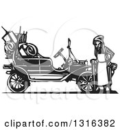 Clipart Of A Black And White Woodcut Old Woman And Children Leaving Home During The Great Depression Standing By An Antique Model T Car Royalty Free Vector Illustration