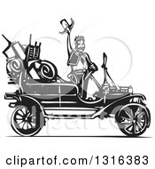 Clipart Of A Black And White Woodcut Cowboy Waving His Hat By An Antique Model T Car Royalty Free Vector Illustration