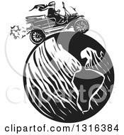 Black And White Woodcut Woman Wearing A Scarf And Driving An Antique Model T Car Around The Globe
