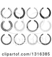 Clipart Of Black And White Laurel Wreath Designs Royalty Free Vector Illustration