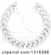 Clipart Of A Black And White Laurel Wreath Design 8 Royalty Free Vector Illustration