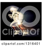 Clipart Of A 3d Blurred Anatomical Male Sprinting Over Black Royalty Free Illustration