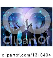 Clipart Of A Silhouetted Group Of Dancers Over Flares And Lights On Purple And Blue Royalty Free Vector Illustration