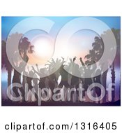 Clipart Of A Silhouetted Crowd Dancing With Palm Trees And Flares At Sunset Royalty Free Vector Illustration