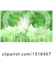 Clipart Of A Background Of Green Vines Bright Light And Flares Royalty Free Illustration