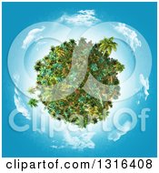 Clipart Of A 3d Tropical Planet With Palm Trees And Plants With Blue Sky And Clouds Royalty Free Illustration by KJ Pargeter