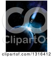 Clipart Of A 3d Shuttle And Impact Against A Planet In Outer Space Royalty Free Illustration by KJ Pargeter