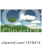 Clipart Of A 3d Green Tree On A Grassy Hill With Sunshine And Clouds Royalty Free Illustration by KJ Pargeter