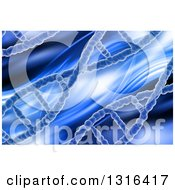 Clipart Of A 3d Blue Medical Background Of Dna Strands And Waves Royalty Free Illustration
