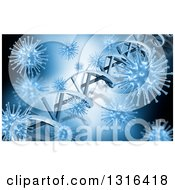 Clipart Of A 3d Blue Medical Background Of Dna Strands And Viruses Royalty Free Illustration