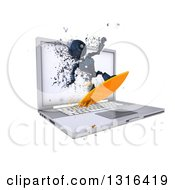 Clipart Of A 3d Blue Android Robot Surfing The Internet Over A Laptop Computer With Flying Pixels On White Royalty Free Illustration
