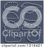 Cloud Outline And Shadow Icons On Blue