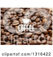 White Cup And Coffee Bar Text Over Beans
