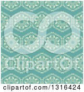 Seamless Background Pattern Of Yellow Flowers On Turquoise
