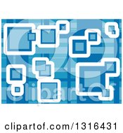 Clipart Of A Blue Geometric Background With Squares Royalty Free Vector Illustration