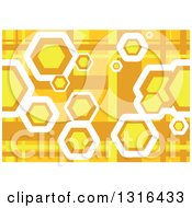 Clipart Of A Yellow And Orange Geometric Background With Hexagons Royalty Free Vector Illustration by dero
