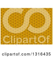Clipart Of A Yellow Metal Honeycomb Background Royalty Free Vector Illustration by dero