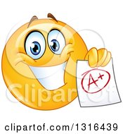 Clipart Of A Smart Happy Yellow Emoticon Smiley Face Holding An A Plus Graded Paper Royalty Free Vector Illustration