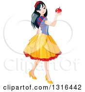 Princess Snow White Walking And Holding Up An Apple