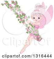Clipart Of A Happy Pink Fairy Tale Pixie On A Swing With Rose Vines Royalty Free Vector Illustration