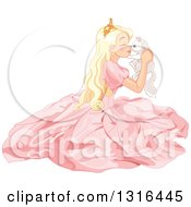 Clipart Of A Blond Caucasian Princess In A Pink Gown Sitting On The Floor Holding And Rubbing Noses With A White Kitten Royalty Free Vector Illustration by Pushkin
