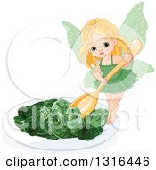 Clipart Of A Blond White Toddler Female Fairy Holding A Spoon Over A Spinach Salad Royalty Free Vector Illustration