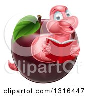 Pink Earthworm Reading A Book And Emerging From A Red Apple