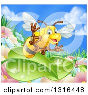 Clipart Of A Cartoon Friendly Bee Waving And Flying Over Leaves And A Flower Garden Royalty Free Vector Illustration