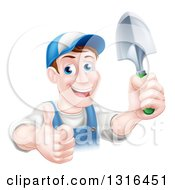 Clipart Of A Brunette White Male Gardener In Blue Holding Up A Shovel And Giving A Thumb Up Royalty Free Vector Illustration