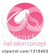 Clipart Of A Round Pink Nail Polish Manicure Logo With Sample Text Royalty Free Vector Illustration by AtStockIllustration
