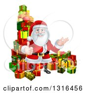 Clipart Of A Cartoon Santa Claus Presenting And Giving A Thumb Up By Stacked Christmas Gifts Royalty Free Vector Illustration