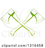 Clipart Of A Gradient Green Tree Surgeon Logo Of Crossed Axes Royalty Free Vector Illustration by AtStockIllustration