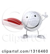 Clipart Of A 3d Happy Golf Ball Character Holding Up A Finger And A Beef Steak Royalty Free Illustration