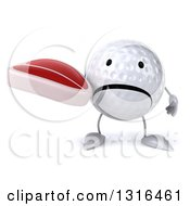 Clipart Of A 3d Unhappy Golf Ball Character Holding A Beef Steak Royalty Free Illustration