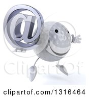 Clipart Of A 3d Happy Golf Ball Character Facing Slightly Right Jumping And Holding An Email Arobase At Symbol Royalty Free Illustration