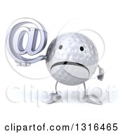 Clipart Of A 3d Unhappy Golf Ball Character Holding An Email Arobase At Symbol Royalty Free Illustration
