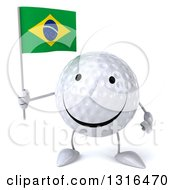 Clipart Of A 3d Happy Golf Ball Character Holding A Brazilian Flag Royalty Free Illustration