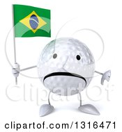 Clipart Of A 3d Unhappy Golf Ball Character Giving A Thumb Down Holding A Brazilian Flag Royalty Free Illustration