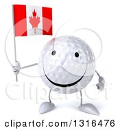 Clipart Of A 3d Happy Golf Ball Character Holding A Canadian Flag Royalty Free Illustration