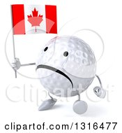 Clipart Of A 3d Unhappy Golf Ball Character Walking Slightly To The Left And Holding A Canadian Flag Royalty Free Illustration
